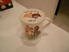 """YOUR VERY PUP-ULAR WITH ME MUG WITH LID-VG+ COND-3 3/4"""" HIGH"""