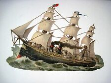 Large Vintage Sailing Steam Ship Die Cut w/ Great Detail of The Sails    *