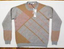 New Jil Sander Sweater 40 FR 12 US Cashmere Knit Plaid Pastel Gray Pink