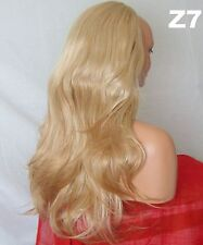 Half Wig Fall Clip In Hair Piece flick layered Long 3/4 wig fall Blonde Mix Z7