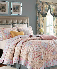 ROSE GARDEN Full Queen QUILT SET : COUNTRY COTTAGE BLUE PINK SHABBY RUFFLED RAG