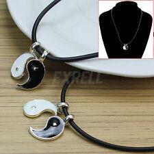 2 x Collar Gargantilla Cuerda de Caucho Colgante Yin & Yang para Mujer Hombre