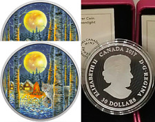 2017 Moonlight Glow-in-Dark 2OZ Pure Silver $30 Canada Lynx Coin, Mintage 4000.