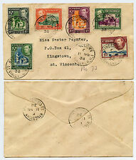 ST VINCENT 1938 MULTI FRANKING FIRST DAY COVER KINGSTOWN 6 VALUES KG6