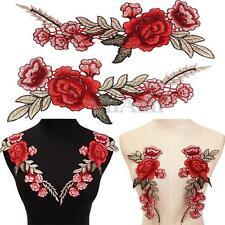 2Pcs Ecusson Patch Thermocollant Badge Broderie Fleur Rose Tissu Brodé Applique