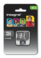 Integral 8GB Micro SD (SDHC) Tf Memory Card Class 4 Adapter For Mobile Tablets