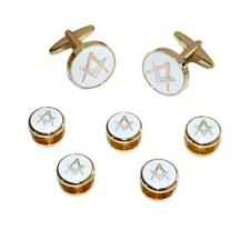 White & Gold Masonic CUFFLINKS & 5 Button Studs Mason Formal Birthday Present