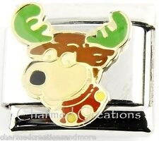 9mm Italian Charm Stainless Modular Link Christmas Rudolph The Red Nose Reindeer