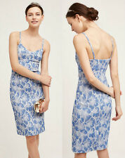 ANTHROPOLOGIE HD in Paris NWT Portia Dress Blue White Floral Jacquard Sz 6 $168