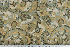 Drapery Upholstery Fabric Jacquard Floral Sky Blue, Green, Gold, Brown on Ivory