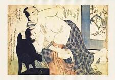 Japanese Reproduction Woodblock Print Shunga Style 7 Erotic  A4 Parchment Paper