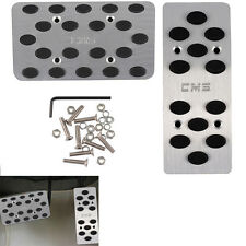 2 x Auto Automatic Car Gas Brake Metal Pedal Covers AT Pedals Pads Silver Tone