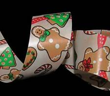 5 Yds Gingerbread man Cookie Christmas Winter Red Acetate Gift Waterproof Ribbon