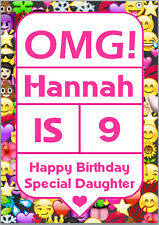 OMG Text Mobile Phone Emoji Girls Birthday Card A5 Personalised own words
