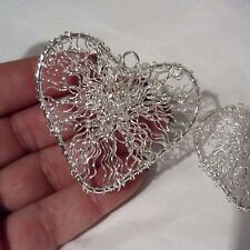 Silver filigree hanging hearts 1 pair for wedding wishing tree floristry favours