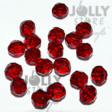 8mm Ruby Faceted Acrylic Beads 500 piece bag