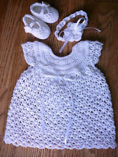 Handmade crochet white baby dress headband &booties set Newborn/Baptism/Blessing