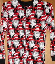 Dr Seuss Cat In The Hat Footed Pajamas Costum 1 PC S NWT 75 Years of Imagination