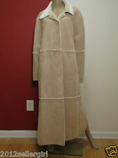 VENEZIA TAN FAUX SHEARLING FUR LONG MAXI BUTTON HEAVY WINTER COAT SZ 22-24