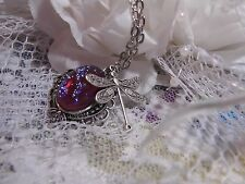 VALENTINES DAY DRAGONS BREATH FIRE OPAL STONE NECKLACE DRAGONFLY SILVER MEMORIAL