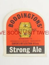 1960s England Boddingtons Strong Ale label Tavern Trove