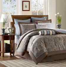 King Size Bedding Set Romantic Comforter Sheets Luxury Bedspread Blue Brown 12PC