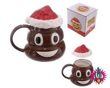 EMOJI EMOTICON CHRISTMAS POOP 3D STYLE COFFEE MUG CUP WITH LID NEW IN GIFT BOX