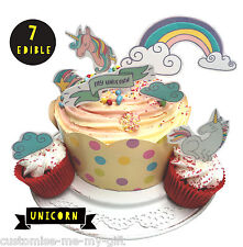 Unicorn rainbow 7 Piece - Edible Pop Top Cupcake Toppers | Cake | decorations