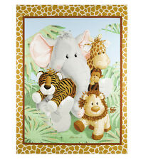 "Jungle Babies Nursery Quilt Top Panel 100% Cotton Fabric 44"" X 35"""