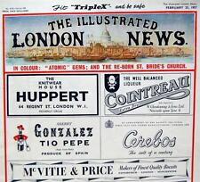 2 THE ILLUSTRATED LONDON NEWS MAGAZINE 1957 VINTAGE WORLD EVENTS ADVERTISING