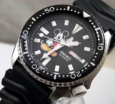 Seiko Black Ceramic Mickey Mouse Automatic Day Date Diver's Watch Custom 6309