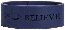 Personalized Engraved Blue Leather Cuff Bracelet Cuff Bangle