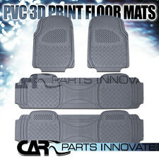 4X Semi Custom Gray Heavy Duty PVC Rubber Front & Rear Floor Carpets Mats