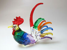Farm MINIATURE HAND BLOWN Art GLASS Multi Colors Rooster Chicken Animal FIGURINE