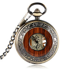 Vintage Wood Grain Hollow Hand Wind Mechanical Pocket Watch Steampunk Fob Chain
