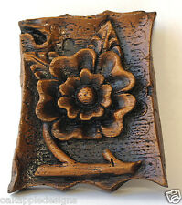 Tudor Rose Ornament Wall Plaque Foliage Medieval Cottage Decor Cathedral Carving