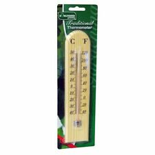 TRADITIONAL WOODEN WOOD GARDEN GREENHOUSE HOME THERMOMETER WALL MOUNTING-GSTH02