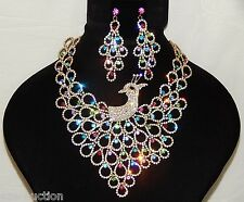 PRETTY PEACOCK GOLD MULTI COLOR RHINESTONE CRYSTAL NECKLACE AND EARRINGS SET