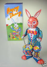 Ms298 tin toy Drumming Happy Bunny windup antique réplique windup lapin de Pâques