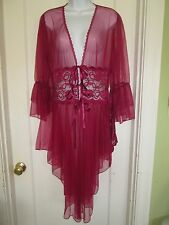 DREAMGIRL Sz L magenta sheer lacy robe peignoir negligee matching thong panties