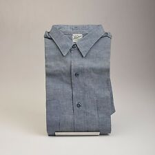 Medium Mens NOS VTG 50s Sanforized All Cotton Chambray Short Sleeve Work Shirt