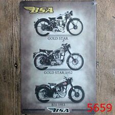 Metal Tin Sign BSA motorcycle Bar Pub Home Vintage Retro Poster Cafe ART