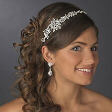 Vintage Silver Royal Crystal Bridal Headpiece Side Accent Headband Prom Tiara