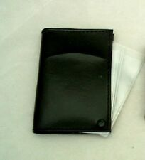 Black Genuine Leather Card Case with 10 Plastic Inserts