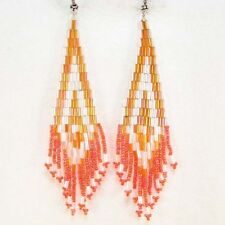 IRIS WHITE ORANGE BUGLE BEADS BEADED EARRINGS HANDMADE