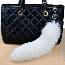 "14""Genuine White Large Real Fox Fur Tail Keychain Leather Tassel Bag Charm"