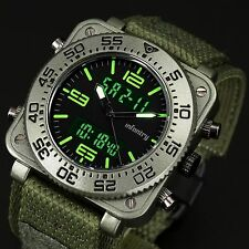 INFANTRY Mens Digital Quartz Wrist Watch Date Chronograph Army Sport Green Nylon