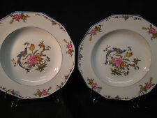 LANTERNIER LIMOGES PORCELAIN PAIR OF SOUP BOWLS  BIRD OF PARADISE