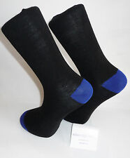 Black Socks with bright blue heal and toes.