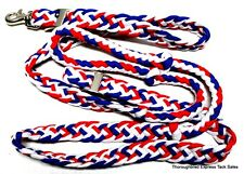 Tough-1  7' Knotted Cord Red, White and Blue Roping Reins Horse Tack Equine
